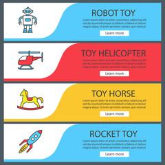 Toys for boys web banner templates set