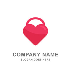 Love Padlock Insurance Protection Logo Vector Icon