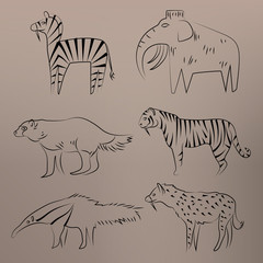 Cave drawing. Animals: mammoth, wolverine, hyena, anteater, tiger, zebra. Design vector illustration. Isolated on grey background.