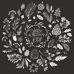 Christmas Composition with Hand-drawn Floral Ornaments, Twigs, Cones and Winter Berries