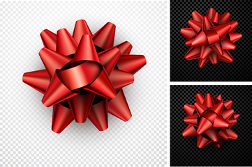 Realistic red bow for gift.