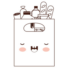 kawaii square paper bag with handle and foods sausage bread and drinks juice and water bottle and milk carton in brown silhouette
