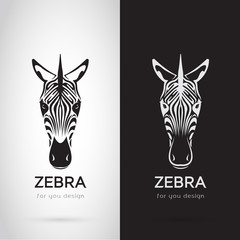 Vector of zebra head design on white background and black background, Logo, Symbol, label, Animals