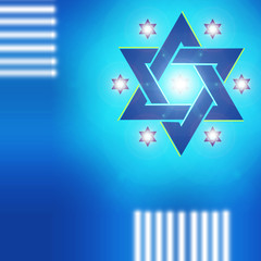 Star of David. Blue Star of David on a blue background