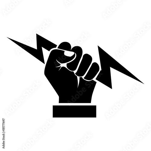 Lightning Holding In Hand Black Silhouette Vector Illustration Flat