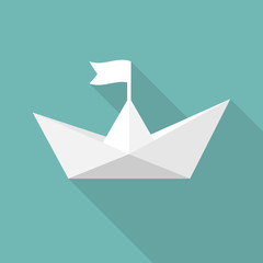 Paper ship. Vector illustration flat design. Isolated on background. Paper white boat. Origami style.