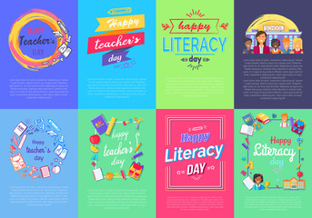 Happy Teacher s Literacy Day Set of Posters