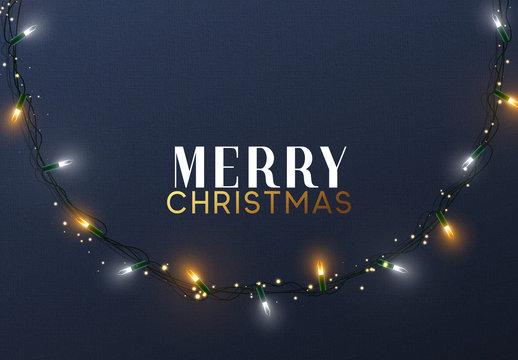 Glowing Christmas lights Wreath for Xmas Holiday greeting cards design
