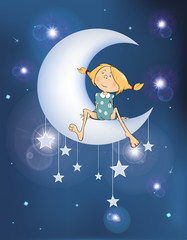 Printed roller blinds Baby room Illustration The Girl on the Moon