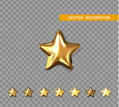Gold stars isolated on transparent background