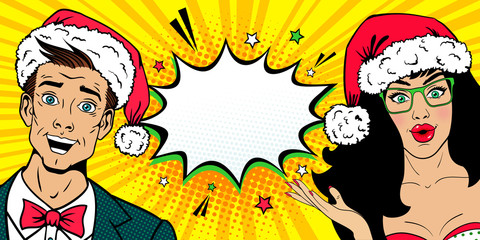 Wow New Year faces. Handsome young surprised man and sexy surprised woman in glasses with open mouths and in Santa Claus hats. Vector background in pop art comic style. Christmas invitation poster.