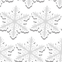 Volumetric snowflakes seamless pattern. New Year's snow endless background, winter repeating texture. Christmas backdrop. Vector illustration