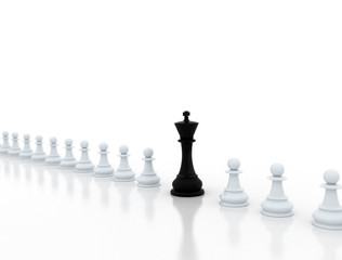 Black chess king and white pond pieces on white background