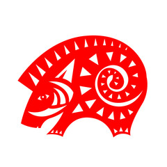 Abstract Red paper cut pig boar zodiac sign isolate on white background vector design