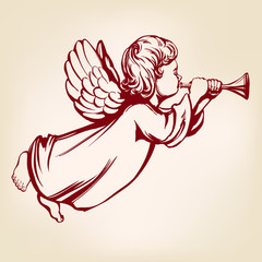 angel flies and plays the trumpet , religious symbol of Christianity hand drawn vector illustration sketch