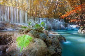 Huay Mae Kamin Waterfall, beautiful waterfall in autumn forest, Kanchanaburi province, Thailand