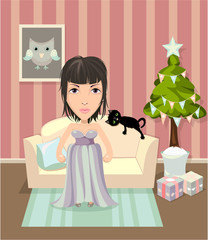 Girl in evening dress standing in room next to sofa. Christmas version.