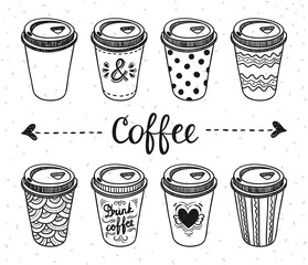 Coffee paper cups take away hand drawn outline illustrations. Coffee to go breakfast cafe elements