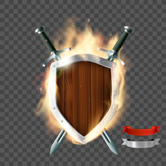 shield with swords and ribbon
