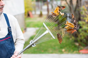 Man holding rake with autumn leaves in the yard