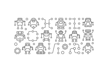 Robots vector horizontal banner or illustration in line style