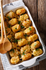 American Food: Tater Tots with cheese, meat, corn and parsley close-up. Vertical top view