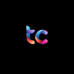 Initial lowercase letter tc, curve rounded logo, gradient vibrant colorful glossy colors on black background