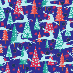 Happy New Year background with firs Xmas trees, deers and snowflakes.