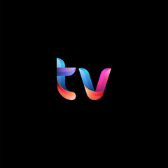Initial lowercase letter tv, curve rounded logo, gradient vibrant colorful glossy colors on black background