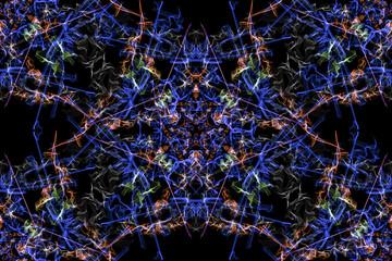 Swirls of fractal lines on black backround.