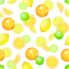 Watercolor seamless pattern with lemon, lime and orange fruits on white background.