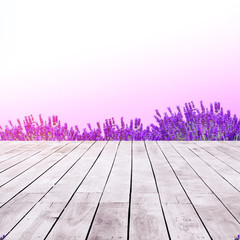 top of wooden with beautiful view of lavender flowers