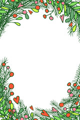 Vector Christmas decorative frames. Blank template for seasonal greeting