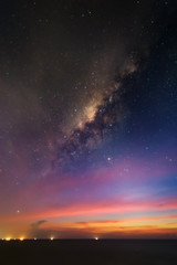 Astro photography milky way galaxy at dusk over sea after sunset. Night space landscape