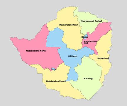 Highly detailed political Zimbabwe Map