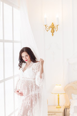 Pregnant girl in a semitransparent negligee
