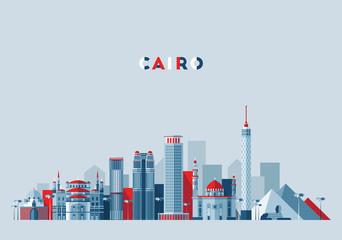 Fototapete - Cairo skyline, Egypt vector illustration, flat