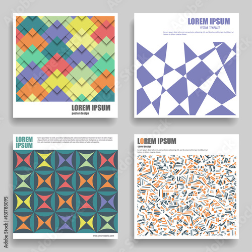 Set of vector square templates for posters, flyers