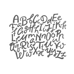 Vector set of uppercase and lowercase handwritten letters.