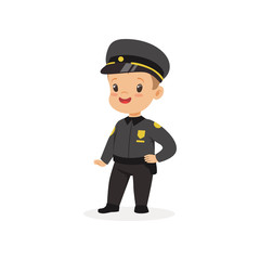 Boy dream of being grown up and working in police department. Kid dressed as police officer. Flat child character