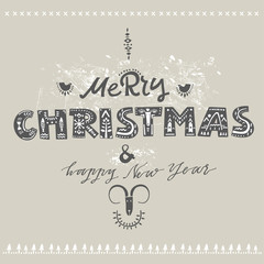 """Vector lettering """"Merry Christmas and Happy New Year."""" Gray letters with folk patterns and stylized animals. For greeting cards, trendy posters."""