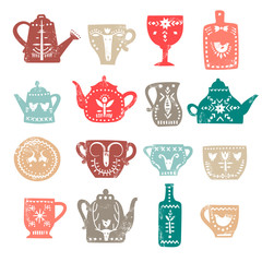 Vector set of stylish teapots and mugs with white folk patterns and textures. For the menu of tea cafe, packing, posters.