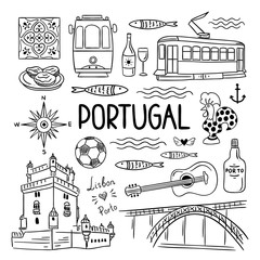 Portugal hand drawn symbols. Visit Lisbon, Porto, Portugal concept. Outline black and white travel illustrations