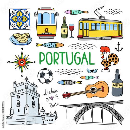 Portugal Hand Drawn Symbols Visit Lisbon Porto Portugal Concept
