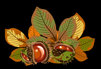 Autumn leaves of chestnuts with chestnuts