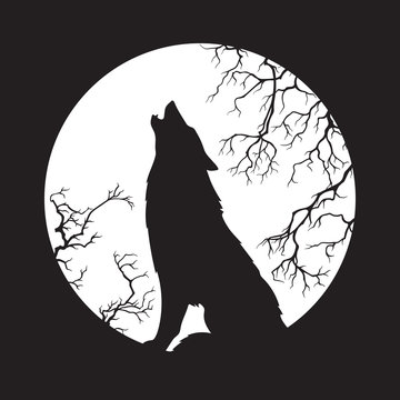 Silhouette of wolf howling at the full moon vector illustration. Pagan totem, wiccan familiar spirit art