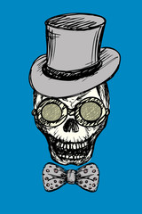 Fashion skull with glasses,bow tie and retro hat