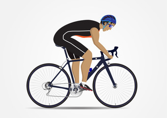 Sportsman cycling on white background, vector illustration