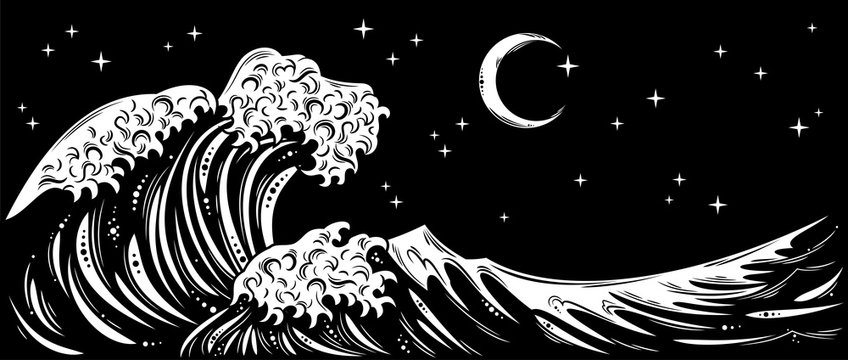 Storm waves with foam and starry night sky and the moon