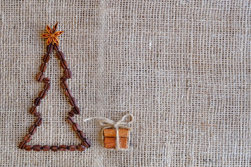 New Years Background with coffee. Top view of coffee beans background. Christmas background with coffee.